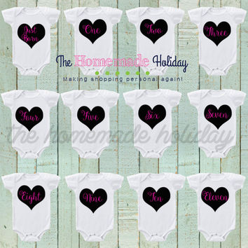 Decorative hearts Baby Monthly Onesuits