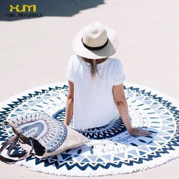 PEAPGC3 2017 Sunbathe Round Beach Towel Blue Floral Beach Cover Ups Round Beach Mat Swimsuit Cover Up Bikini Cover Up with Tassels
