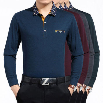 Men Cotton With Pocket Long Sleeve Men's Fashion T-shirts [6541345219]