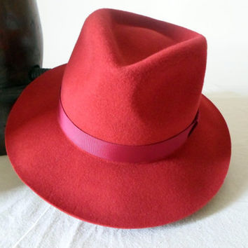 Red Wool Felt Fedora - Wide Brim Merino Wool Felt Handmade Fedora Hat - Men Women