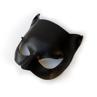 Black Cat Woman Leather Mask Super Hero Sexy Masquerade Valentine's Day Gift Halloween Catwoman Costume Carnival Party Birthday Leo Zodiac