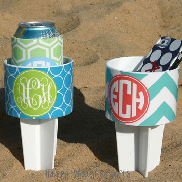 TWO Monogrammed Beach Drink Holders Sand by happythoughtsgifts