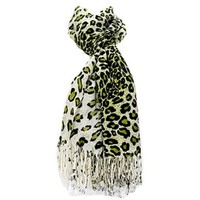 Pretty! Women's Leopard Print Fringe Fashion Scarf New (Green)