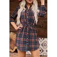 Plaid By The Rules Dress (Blue)