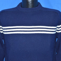70s Navy Blue White Stripe Heavy Knit Raglan Sweater Small