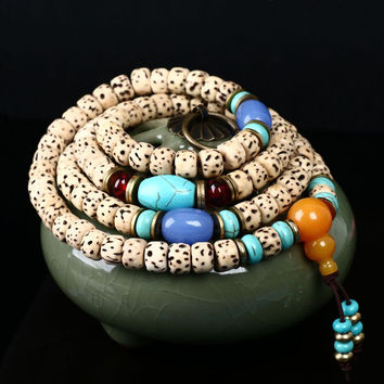 Bodhi Seeds & Turquoise Tibetan Mala Prayer Beads