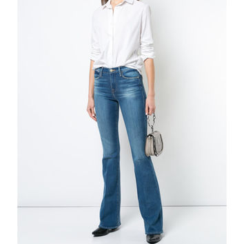 Frame Denim Le High Flare Jeans - Blue Cotton Jeans