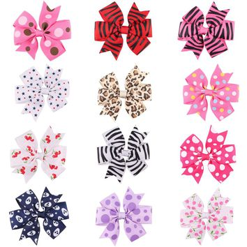 3.5 Inch Big Stacked Boutique Hair Bows Hair Clips Purple Pink Polka Dot Bows Hairpin For Girl Cute Kids Hair Accessories HC083