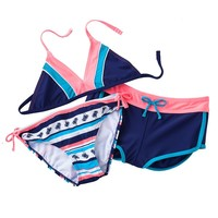 Malibu Dream Girl Colorblock 3-pc. Halter Bikini Swimsuit Set - Girls 7-16