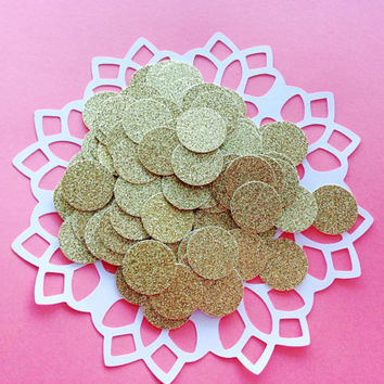 "100 Gold Glitter Circle Confetti - 1"" - Confetti for weddings, birthdays, parties!"