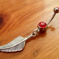 Belly button ring Feather and red gem Belly by ChelseaJewels