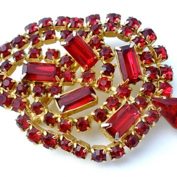 Vintage Red Rhinestone Leaf Brooch Pin