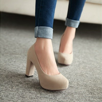 Spring  female nude super high heels  waterproof Taiwan thick with pure color  work shoes