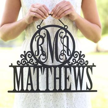 Personalized Monogram Wall Hanging Sign