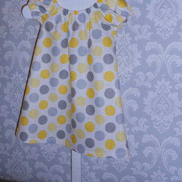Yellow and Gray Toddler Summer Dress - Made to order - Beach Dress - Party Dress - Summer Outfit - Kids Clothes - 100% Cotton - Girls Dress