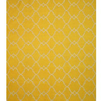 EORC Handmade Polyester Yellow Transitional Trellis Reversible Moroccan Outdoor Rug