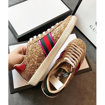 GUCCI Shining Shoes Trending Women Metal Color Shiny Stripe Flat Sport Shoe Sneakers Silver