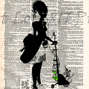 Creepy victorian lday, silhouette art, dictionary page art print