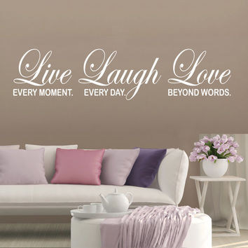 Bedroom Wall Decal Inspirational Quote Live Laugh Love Home Décor Wall decal quote Vinyl Wall Sticker Bedroom Office decor