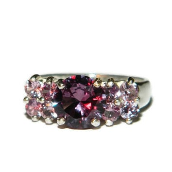 Multi Stone Alexandrite Ring, Cocktail or Dinner Ring, Color Changing Stones