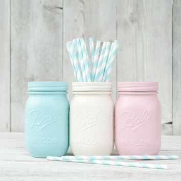 3 Painted mason jars. Wedding centerpieces, pink and aqua decor. Pen holder, pencil holder, dorm organizer. Easter decor.