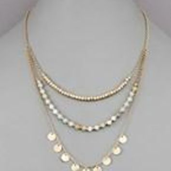 Disk & Stone Layered Necklace
