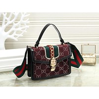 GUCCI Trending Women Stylish Shopping Velvet Leather Handbag Tote Shoulder Bag Crossbody Satchel Burgundy