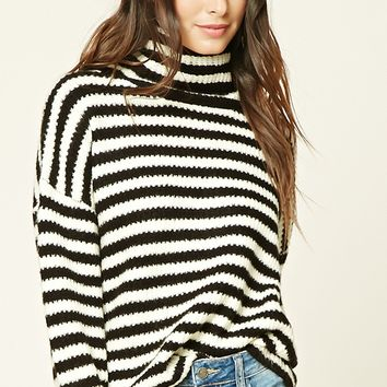 Stripe Cowl-Neck Sweater