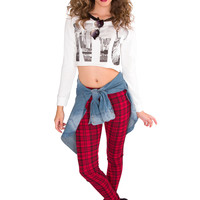 Rad Plaid Leggings - Red