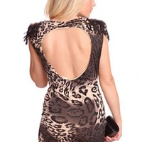 Charcoal Multi Animal Print Padded Shoulders Fringed Hardware Decor Cut Out Back Dress