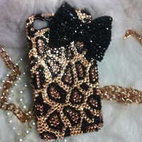 3D Handmade Bling Diamond crystal pearl iphone 5 5G case cover leopard Bow /=