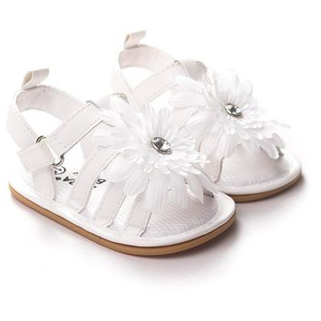 Summer Flower Girl PU Leather Sweet Newborn Baby Outdoor Beach Shoes Infant Princess Girls Soft Soled Anti-slip Shoes