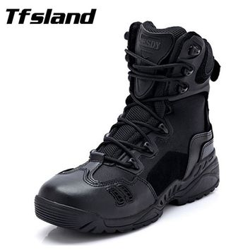 Tfsland New Winter Men Tactical Combat Sports Outdoor Boots Male Army Military Desert