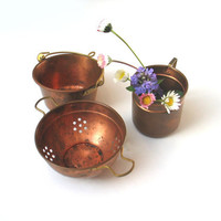 Set of vintage copper and brass kitchen wares by madlyvintage
