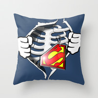 Skeleton Rib Cage With Superman Tag T-shirts Throw Pillow by Nirvana.Design | Society6