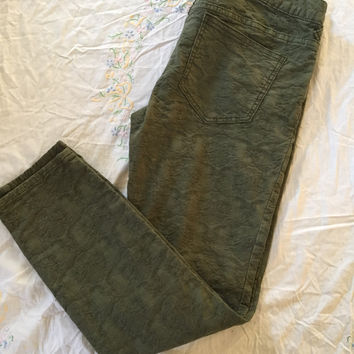 Free People Olive Green Jacquard Skinny Jeans, size 29