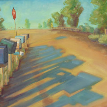 Mail Boxes oil painting PRINT 8x10 fine art by brandycattoor