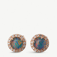 THE ALKEMISTRY 14ct rose gold, opal and diamond stud earrings