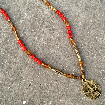 Joy and Success, Genuine Coral, African Trade Beads, Beaded Ganesh Pendant Necklace