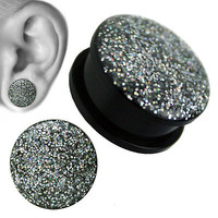 Clear Coated Glitters Tunnel Ear Plugs Sold in Pairs