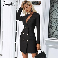 Simplee Elegant double breasted women black dress Ladies office white blazer dresses plus size Summer bodycon female dress suit
