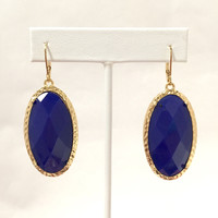 Palma Frame Drop Earrings In Royal Blue