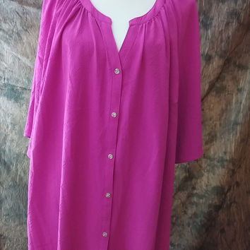 Catherines Shirt Plus Size 3X Bright Fuchsia Pink Short Sleeve