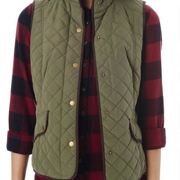 Quilted Vest with Suede Trim - G.H. Bass & Co.