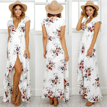 Floral Print Dress Ladies Fashion Short Sleeve Casual Dresses Women Summer Clothes Women's Summer Boho Long Maxi Dress