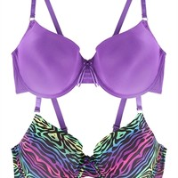 Plus Size 2 Bra Set with Purple Ombre Zebra Print