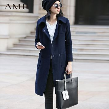 Amii Casual Women Woolen Coat 2018 Winter Solid Turn-down Collar Covered Button Pocket Female Wool Blends