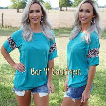 Turquoise Leopard Jersey Tee
