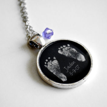 Mother's Necklace- Your Baby's ACTUAL Footprints and Birthstone Keepsake Resin Pendant Necklace- Valentine's Day, Mother's Day