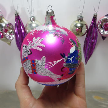 Christmas Tree Ornament Glass Ornament Santa and Reindeer Hot Pink and Purple Shiny Brite Ornament Red and Green Holiday Decor